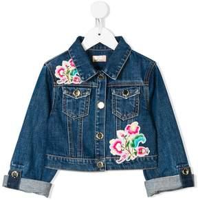 Elisabetta Franchi La Mia Bambina embroidered floral denim jacket