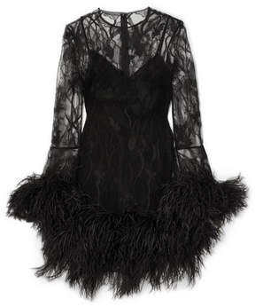 Alexander McQueen Feather-trimmed Lace Mini Dress - Black