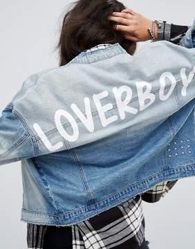 Noisy May Loverboy Print Denim Jacket