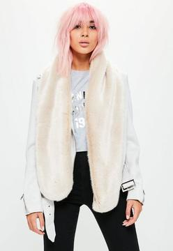 Missguided Beige Faux Fur Scarf