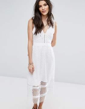 Abercrombie & Fitch Lace Zip-Back Midi Dress