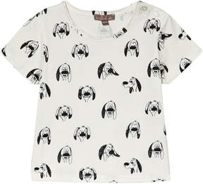 Emile et Ida White Dog Print T-Shirt