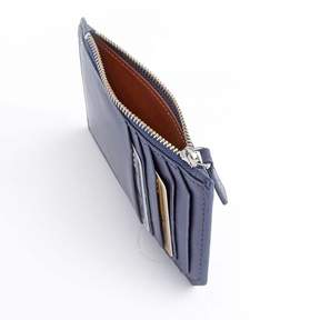 Royce Leather Royce Blue Zippered Credit Card Wallet