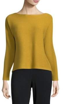 Eileen Fisher Bateau Neck Wool Top