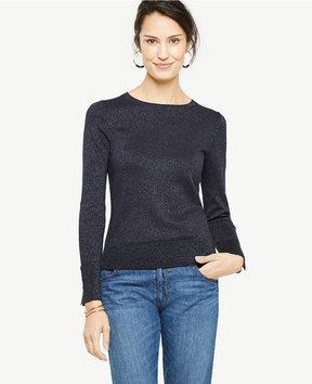 Ann Taylor Shimmer Button Cuff Sweater