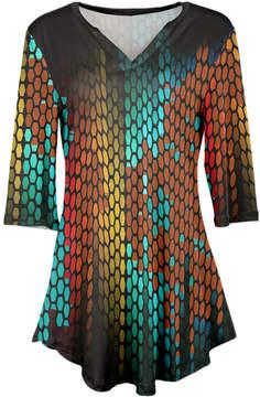 Azalea Red & Aqua Geometric V-Neck Tunic - Women & Plus