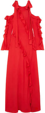 Elie Saab Cold-shoulder Ruffled Silk-georgette Gown - Red
