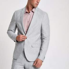 River Island Mens Grey linen stripe skinny suit jacket