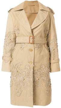 Ermanno Scervino baroque applique trench coat