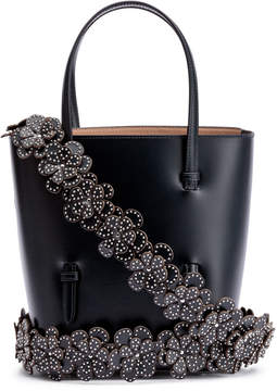 Alaia Navy leather tote with studded floral strap