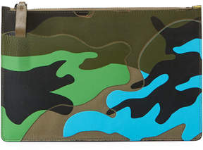 Valentino Men's Bright-Camo Zip-Top Clutch Bag