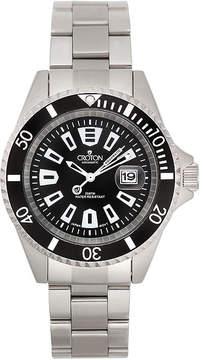 Croton Mens Black Stainless Steel Watch