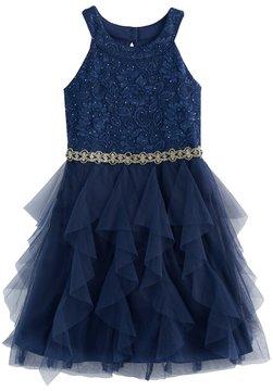 My Michelle Girls 7-16 Lace Bodice & Waterfall Skirt Dress