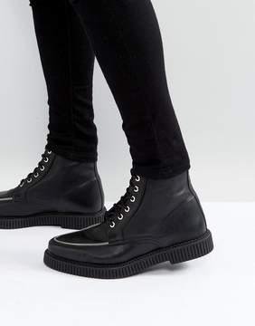 Asos Lace Up Creeper Boots In Black Leather With Zip Detail