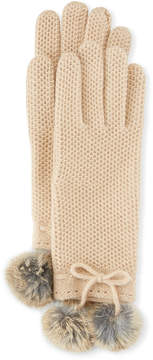Neiman Marcus Knit Gloves with Rabbit Fur Pompom