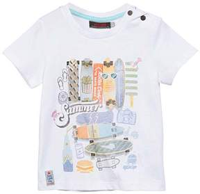 Catimini White 'Summer' Skateboard Button-Accent Tee - Boys