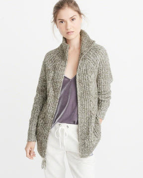 Abercrombie & Fitch Zip-Up Cable Cardigan