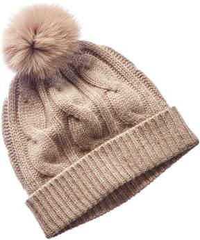 Sofia Cashmere sofiacashmere Sofiacashmere Taupe Cable-Knit Cashmere Hat