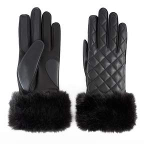 Isotoner Women's Faux Fur Cuff Quilted Tech Gloves