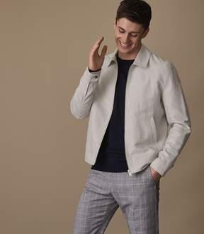 Reiss MARIBO Linen blend Harrington jacket