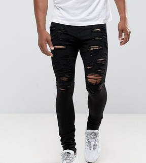 Jaded London Muscle Fit Super Skinny Jeans In Black With Distressing