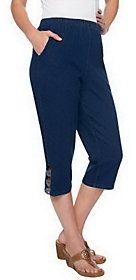 Denim & Co. As Is Pull-on Side Pocket Capri Pants w/ Knots