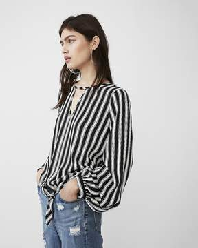 Express Stripe Tie Front Volume Sleeve Blouse