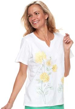 Alfred Dunner Women's Studio Floral Embroidery Top