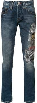 Philipp Plein embroidered slim-fit jeans