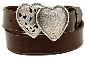 Ariat A1523002-M 1.5 in. Womens Leather Double Hearts Belt, Brown - Medium