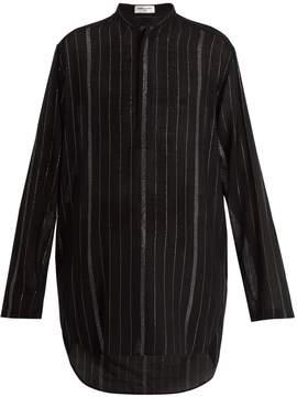 Saint Laurent Metallic pinstripe sheer wool-blend shirt