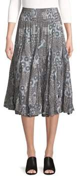 Context Pleated Patchwork Paisley Midi Skirt