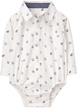 Gymboree White Pups Button-Up Bodysuit - Infant