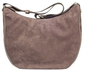 Borbonese Women's Grey Leather Shoulder Bag.