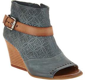 Miz Mooz Leather Peep Toe Wedge Booties -Kahlo