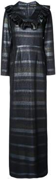 Christian Siriano lurex stripe maxi dress