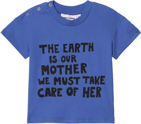 Mini Rodini Blue Mother Earth Short Sleeve T-Shirt