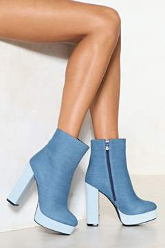 Nasty Gal Way Up High Denim Boot
