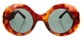 Linda Farrow The Row x Tortoiseshell Leather-Trimmed Sunglasses