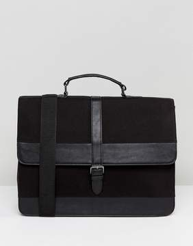 Asos Satchel In Smart Canvas And Faux Leather