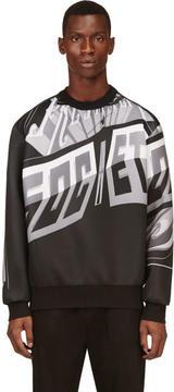 Juun.J Black and Grey Neoprene Sign Print Sweatshirt