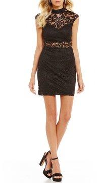 B. Darlin Illusion Inset Lace Sheath Dress