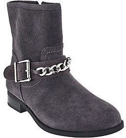 Vionic As Is Orthotic Suede Ankle Boots with Chain - Crescent