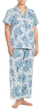 Karen Neuburger Floral Button-Down Top and Pants Pajama Set
