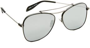 Alexander McQueen Piercing Flat Lens Aviator Sunglasses