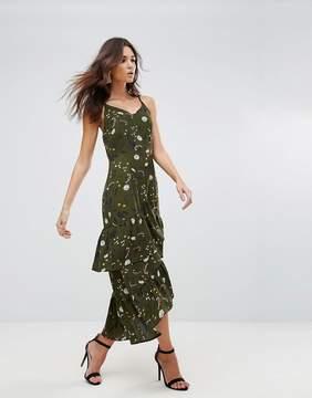 AX Paris Drop Hem Maxi Dress With Frill Hem In Floral Print