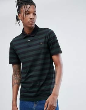 Farah Peppiat Slim Fit Stripe Polo In Black