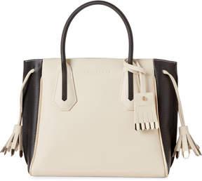 Longchamp Ecru & Black Penelope Bicolor Small Leather Tote