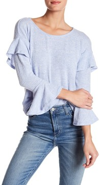 Dee Elly Brushed Ruffle Sleeve Sweater