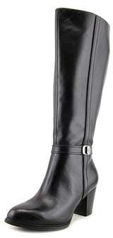 Giani Bernini Raiven Wide Calf Women Round Toe Leather Black Knee High Boot.